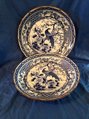 """Two Beautiful & Unusual 10"""" Blue Willow Platters"""