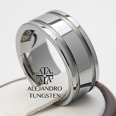 Tungsten Ring Comfort Fit Wedding Band 8MM Gorgeous Polished Shiny Size 10 #STA