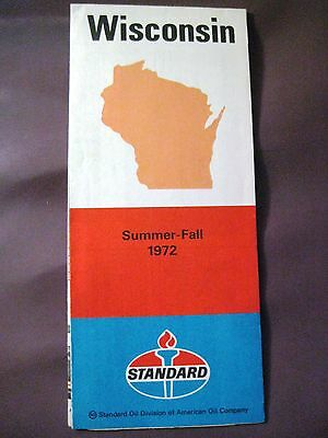 VTG Summer Fall 1972 STANDARD (AMERICAN) OIL CO Road Map of Wisconsin