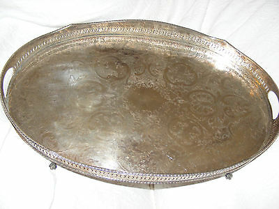 "Vintage Large 23.5"" Sheffield Silver Plate On Copper Gallery Tray Claw Feet"