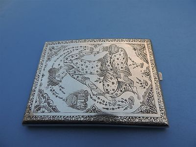 MUSEUM Quality Antique Signed PERSIAN Qajar Solid Silver cigarette Card Case