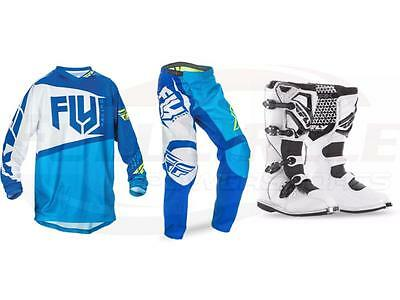 Fly Racing Blue/White F-16 Jersey Pant  Boots Combo Set MX/ATV Moto Riding Gear
