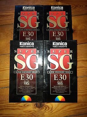 4 x Konica Super SG E30 30 minute VHS Blank VHS Video Cassettes Tapes