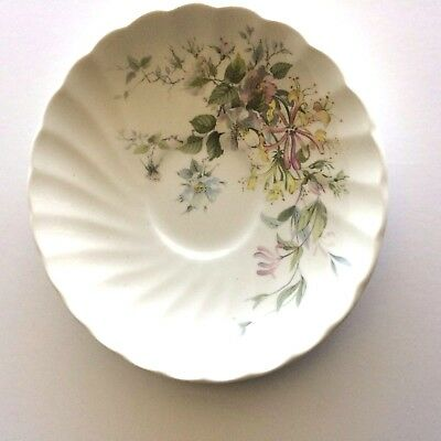 Myott Meakin Staffordshire 1982 Pink Yellow Green Leaves Saucer Outstanding!