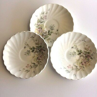 Myott Meakin Staffordshire 1982 Pink Yellow Green Leaves Saucer (Set Of 3)