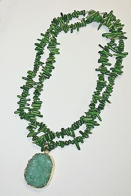 Handcrafted Green Coral Necklace with Peridot Drusy Pendant. 20-inches.