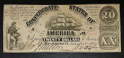 1861 $20 Confederate States of America Note; C.S.A. Currency From Civil War Era