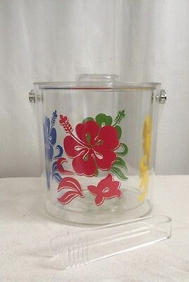 Acrylic Ice Bucket With Tongs Bright Flowers