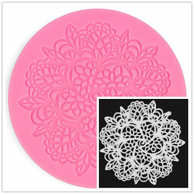 Silicone Lace Flower Cake Decorating Round Shape Fondant Baking Mold