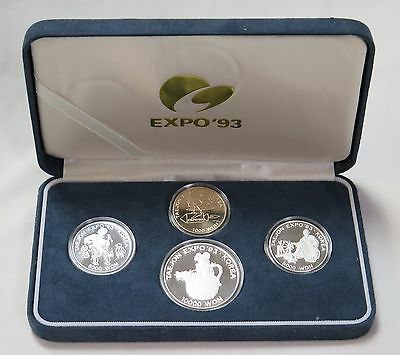 1993 Korea Taejon Expo 4 Piece Proof Coin Set & Box With Sterling Silver Coins