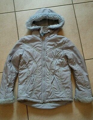 Girls light blue sequin fur hooded Matalan winter coat age 6 - 7 years