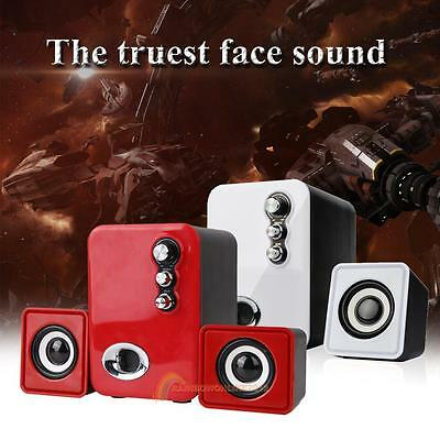 3D Sound 2.1 Channel Bass PC Computer Speaker with Dual Subwoofer Laptop Desktop
