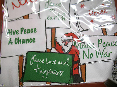 HOLIDAY NEW PEACE signs 20 pc ea Lunch & Cocktail Paper Napkins Germany