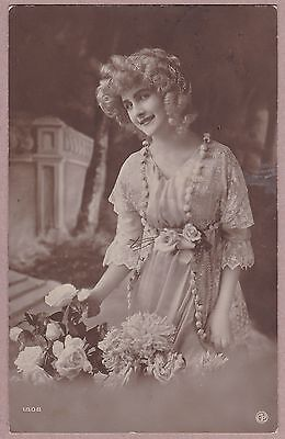 Antique PC - Beautiful Lady In Delicate Lace Dress - Fashion - Romance - Glamour