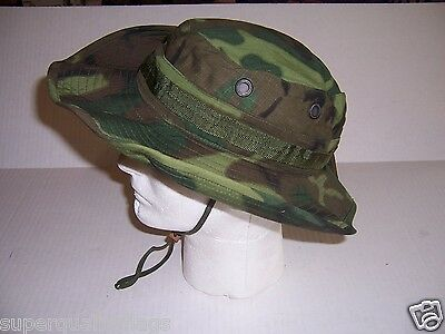 New Vietnam war camouflage boonie tropical hat cap 1969 date made in USA 7 1/4