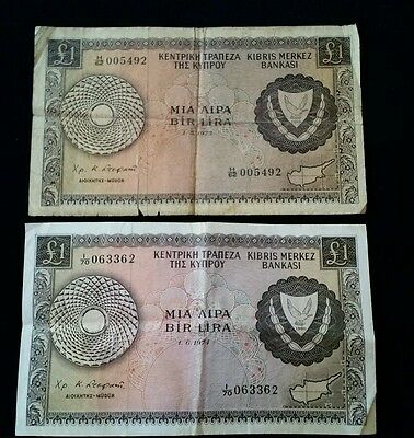 Cyprus Lot Of 2 Banknotes One Pound 1973,1974