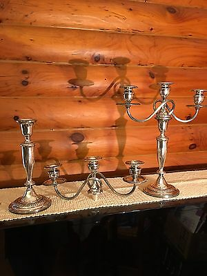 "Pair Vintage Mueck-Cary Of N.Y Sterlng Silver 3 Light Candelabras, 14.5"" Perfect"