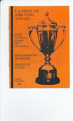 Wolves v Newcastle United FA Youth Cup Semi Final Football Programme 1975/76