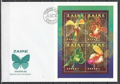 Zaire, MI cat. 1149-1152. Flowers sheet on a First day cover.