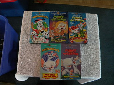 5 Pinky And The Brain VHS Tapes Warner Bros. Animaniacs Steven Spielberg