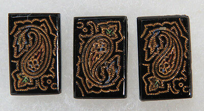 3 Matching Antique / Vintage Black Glass Buttons Incised with Gold Decoration