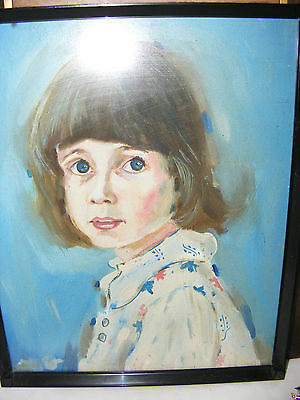 Vintage Oil Painting Portrait Of A Young Girl Possibly 1960's Oil On Board