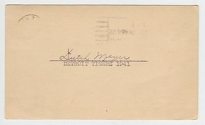 "Dutch Meyer Autographed 3-1/4"" x 5-1/2"" 1941 US Postcard"