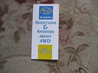 Subaru Four Wheel Drive Question/answere Leaflet  Rare 1990,s Brochure