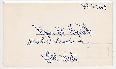 "Red Hayworth Autographed 3-1/4"" x 5-1/2"" 1968 US Postcard"