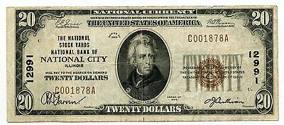 1929 $20 National Currency Note - 12991 Stock Yards City Illinois - AI256
