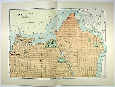 Original 1891 Street & Railroad Map / Plan of Ottawa Ontario by Hunt & Eaton