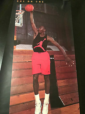 """JORDAN vs BIRD Poster ONE ON ONE March 17, 1988 20""""x48"""" Rare Vintage Chicago"""
