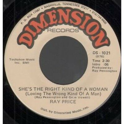 """RAY PRICE She's The Right Kind Of Woman 7"""" VINYL B/w It Don't Hurt Me Half As"""