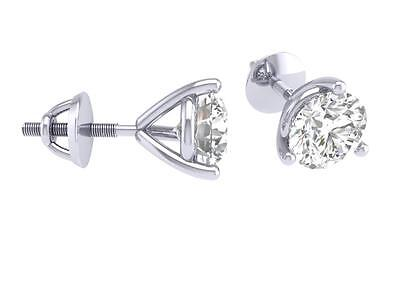 SI1 G Solitaire Studs Earrings 0.50Ct Round Cut Diamond Appraisal 14K White Gold