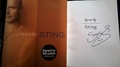 Signed Sting The Police 'Lyrics By Sting' Hard Back Book Autographed