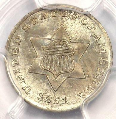 1851 Three Cent Silver Piece 3CS - PCGS Uncirculated - Rare BU MS Certified Coin