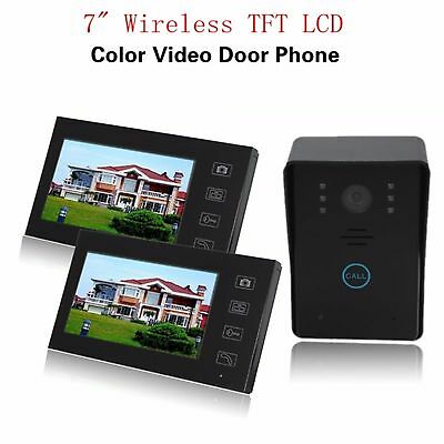 "7"" Wireless Video Door Phone Intercom 2 Monitor 1 CCD Camera with Touch Key"