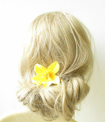 Yellow Orchid Flower Hair Clip Rockabilly 1950s Vintage Hawaiian Floral 40s 1255