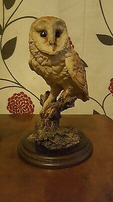 Country Artists Barn Owl Figurine On Wooden Base