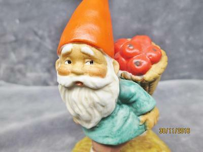 Vintage 1979 Enesco Ceramic Garden Gnome With Basket Of Apples Figure  Taiwan