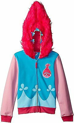 Trolls Girls' Movie Poppy Costume Zip Hoodie with Faux Fur on Hood