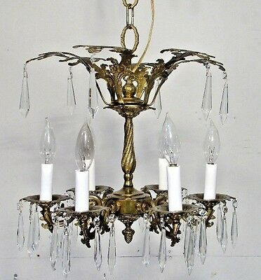 Antique Vintage Chandelier Bronze Fixture Light Crystals Restored