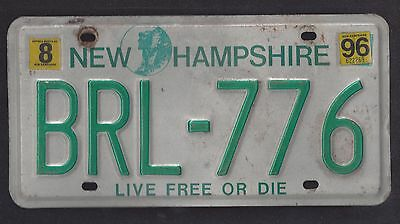 1996 New Hampshire Old Man Of The Mountains, Live Free Or Die Plate Brl-776