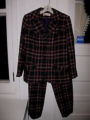 VINTAGE1960-70 PENDLETON 2pcDK.BLUE/DK.GREEN/RED PLAID VIRGIN WOOL PANTS SUIT-10