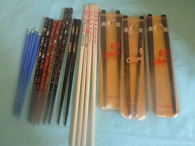 Lot of 11 Sets o Vintage Chinese Chopsticks  Some Mother of Pearl  & Lacquer?