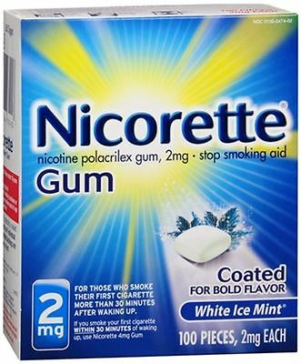 Nicorette Gum 2 Mg - White Ice Mint Coated For Bold Flavor - 100 Pcs.exp. 05/18