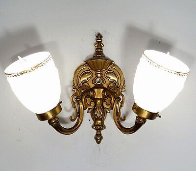 Antique Vintage Sconce Light Brass Original Glass Shades Single FREE SHIPPING
