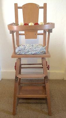 Gorgeous vintage 1960's wooden doll's folding high chair / push along