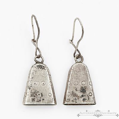 Antique Vintage Native Navajo Pawn Sterling Silver Womens Adobe Bell Earrings!