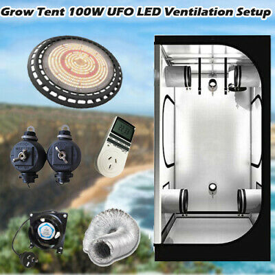 15W LED Grow Lights Hydroponics 1x1x2m Grow Tent Rope Ratchet 4in Vent Duct Fan